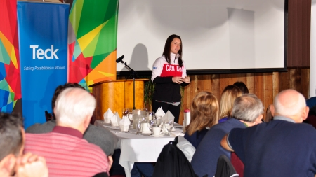 Catherine Ward speaks to sport coaches from Trail, BC.