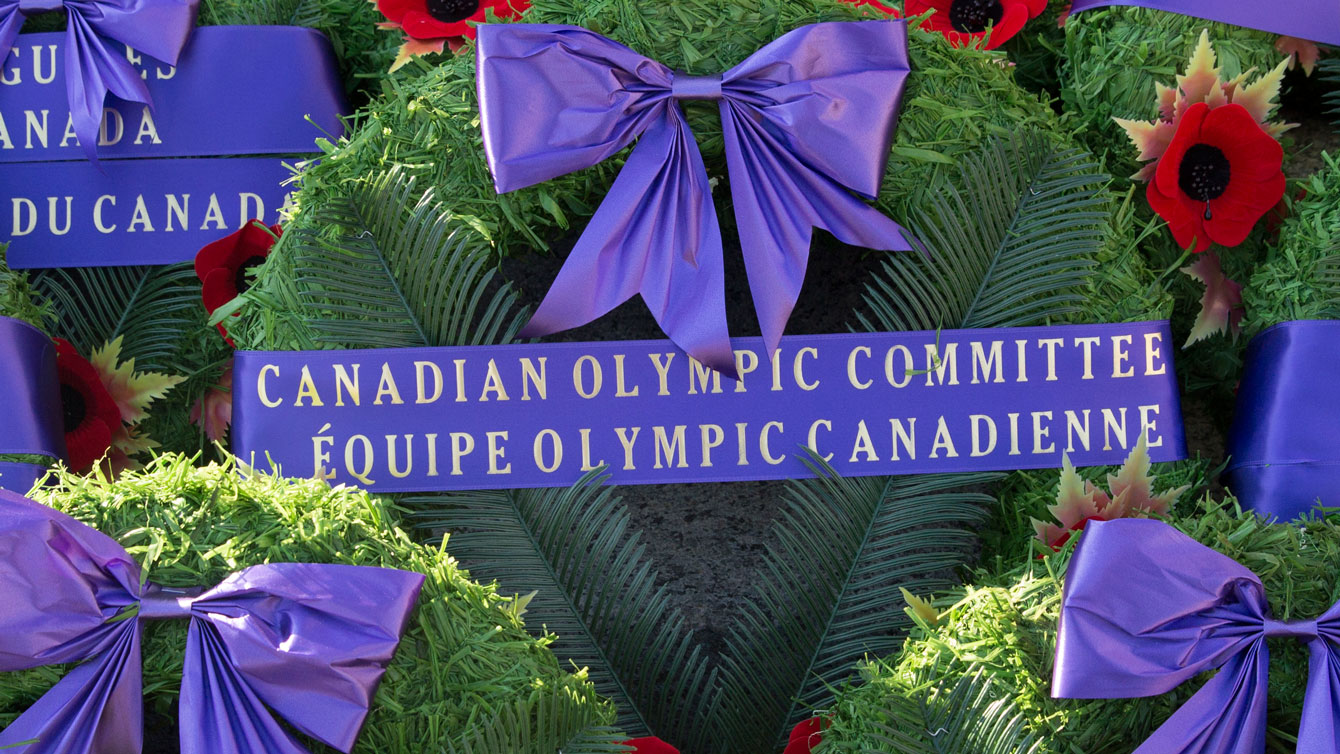 Canadian Olympic Team wreath at the National War Memorial in Ottawa on November 11, 2014.