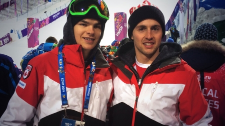 Calm before the storm. Mikael Kingsbury and Alex Bilodeau turn up to watch the women's moguls race where Canada enjoyed another 1-2 finish.