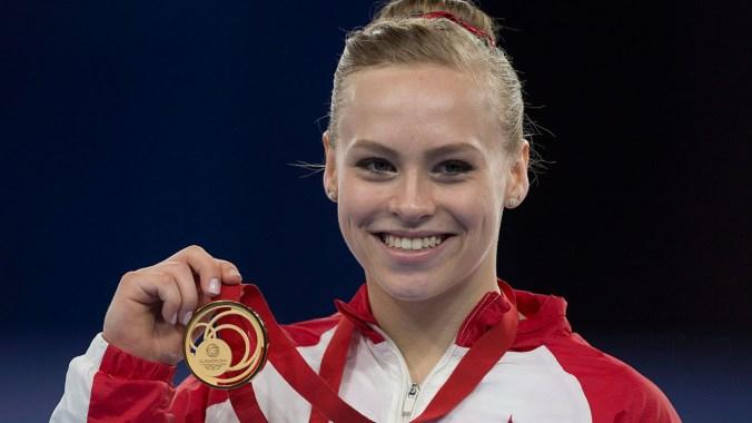 "Elsabeth ""Ellie"" Black is emerging as an elite gymnast, she won three medals at Glasgow, one of each colour."