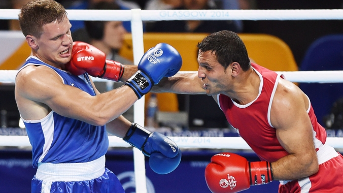 Samir El Mais (right, in red) won boxing gold in Glasgow 2014 and firmly set his sights on Rio 2016.
