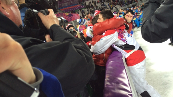 Alex ran over to embrace his brother Frédéric Bilodeau following his Olympic victory in Sochi.