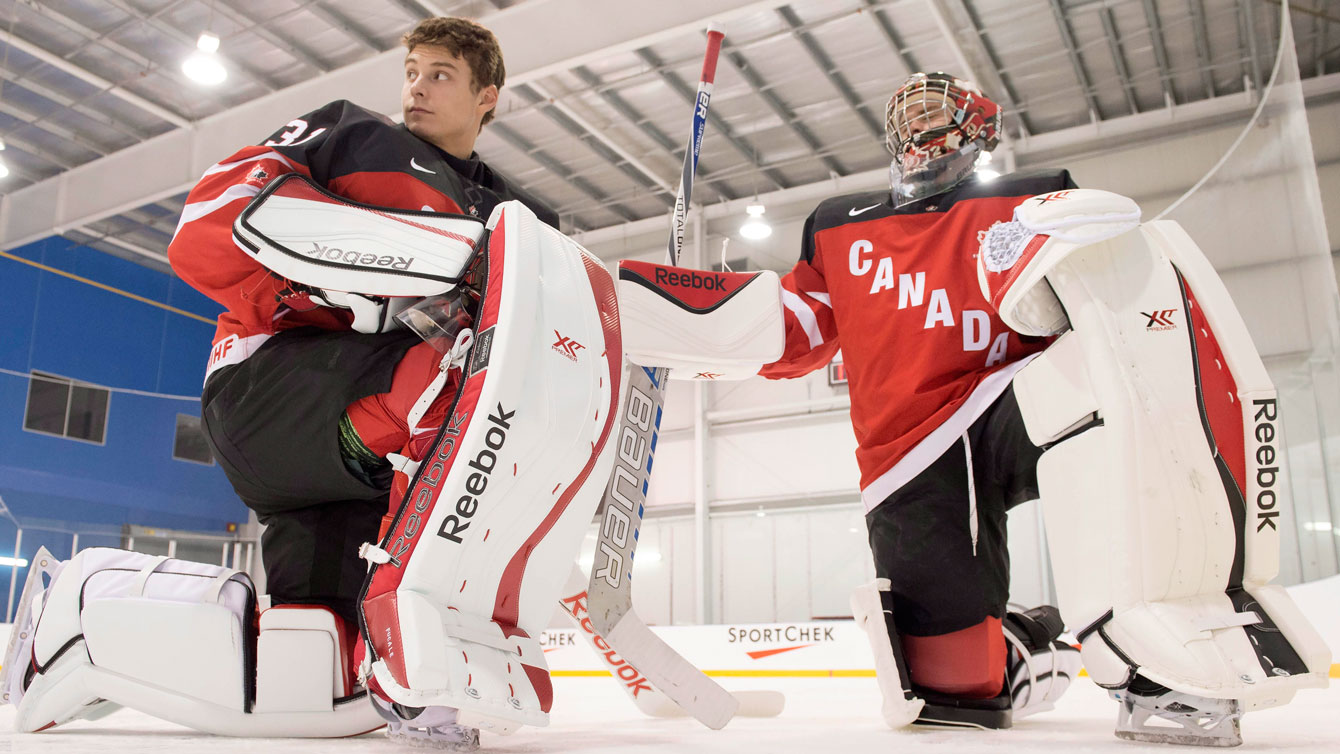 Team Canada goaltenders Zach Fucale (left) and Eric Comrie.