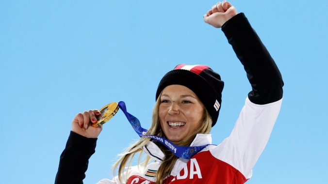Howell receives her gold medal at the presentation ceremony.