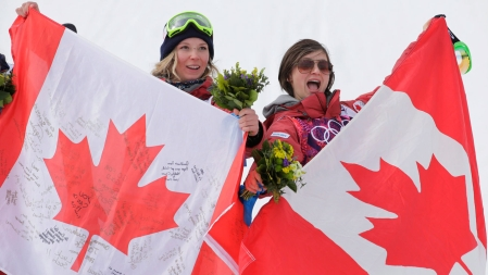 Howell and Lamarre celebrate at Rosa Khutor Extreme Park.