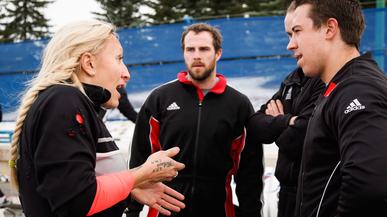 """Humphries' four-man team consists of Dan Dale, Joey Nemet and DJ McClelland. She credits them for helping her get through an exhausting Saturday with two """"very distinct races."""""""
