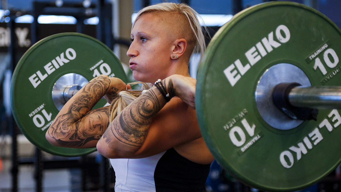 Bobsleigh driver Kaillie Humphries works out at the Winter Sport Institute in Calgary, Monday, Sept. 8, 2014.