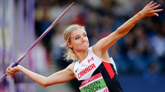 Brianne Theisen-Eaton in the javelin throw of the heptathlon before winning gold.