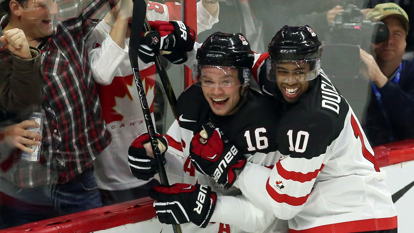 Max Domi (16) and Anthony Duclair celebrate Domi's goal against Sweden in a RBC Road to the World Juniors game.