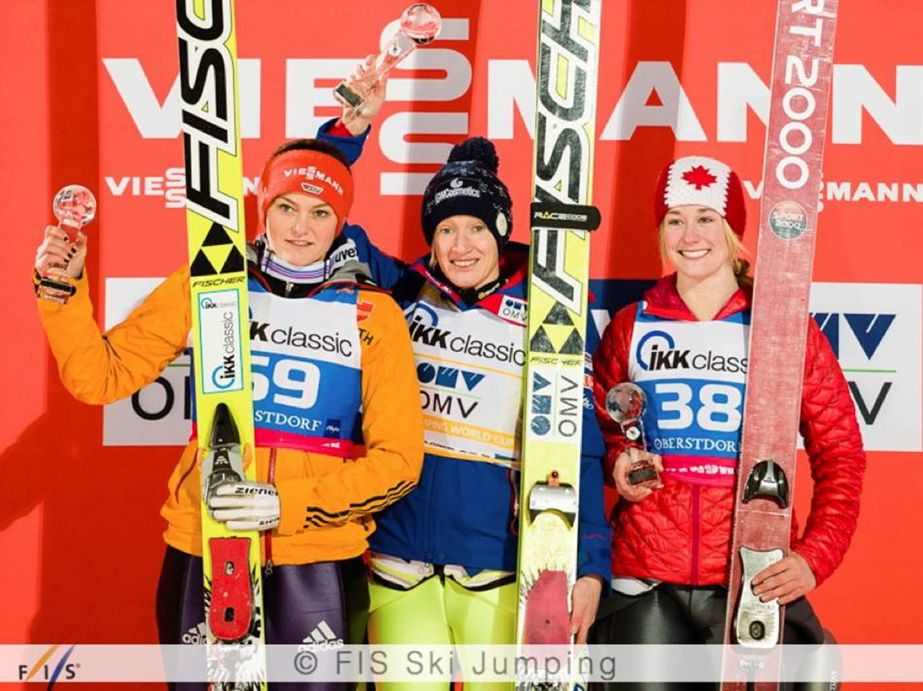 Calgary's Taylor Henrich on the podium after jumping to Canada's first women's ski jumping World Cup medal.