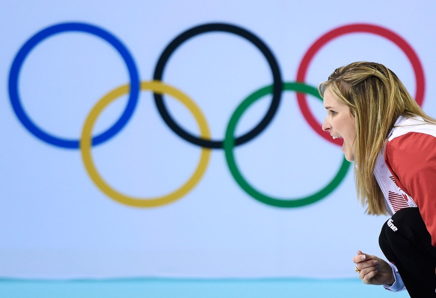 Curling skip Jennifer Jones during competition in Sochi.