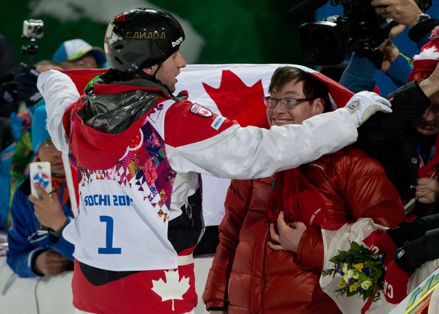 Alex Bilodeau and brother Frédéric after Alex won his second straight Olympic gold medal.