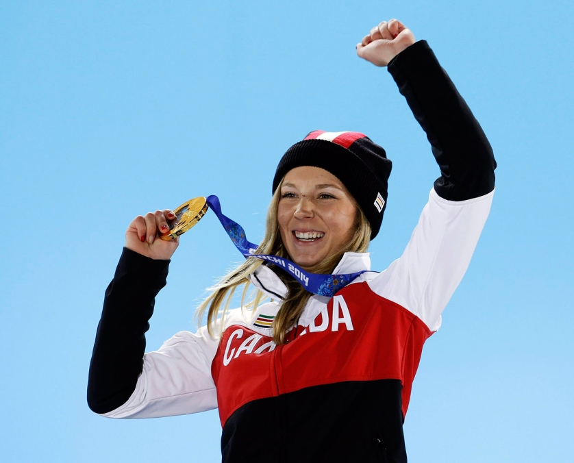 Dara Howell on the podium with her gold medal from Sochi 2014.