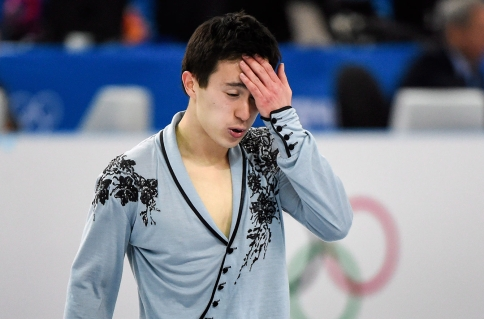 Patrick Chan immediately following his free skate.