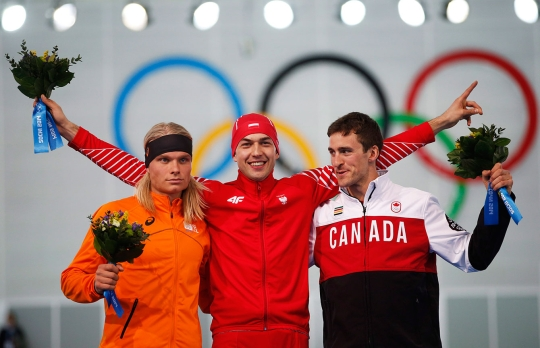 Denny Morrison at the flower ceremony for the 1500m in Sochi.