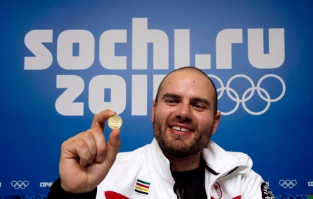 Jan Hudec poses with the loonie he buried near the finish line in Sochi.
