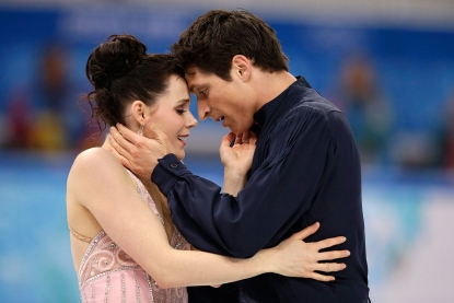 Tessa Virtue and Scott Moir following their silver medal ice dance performance in Sochi.
