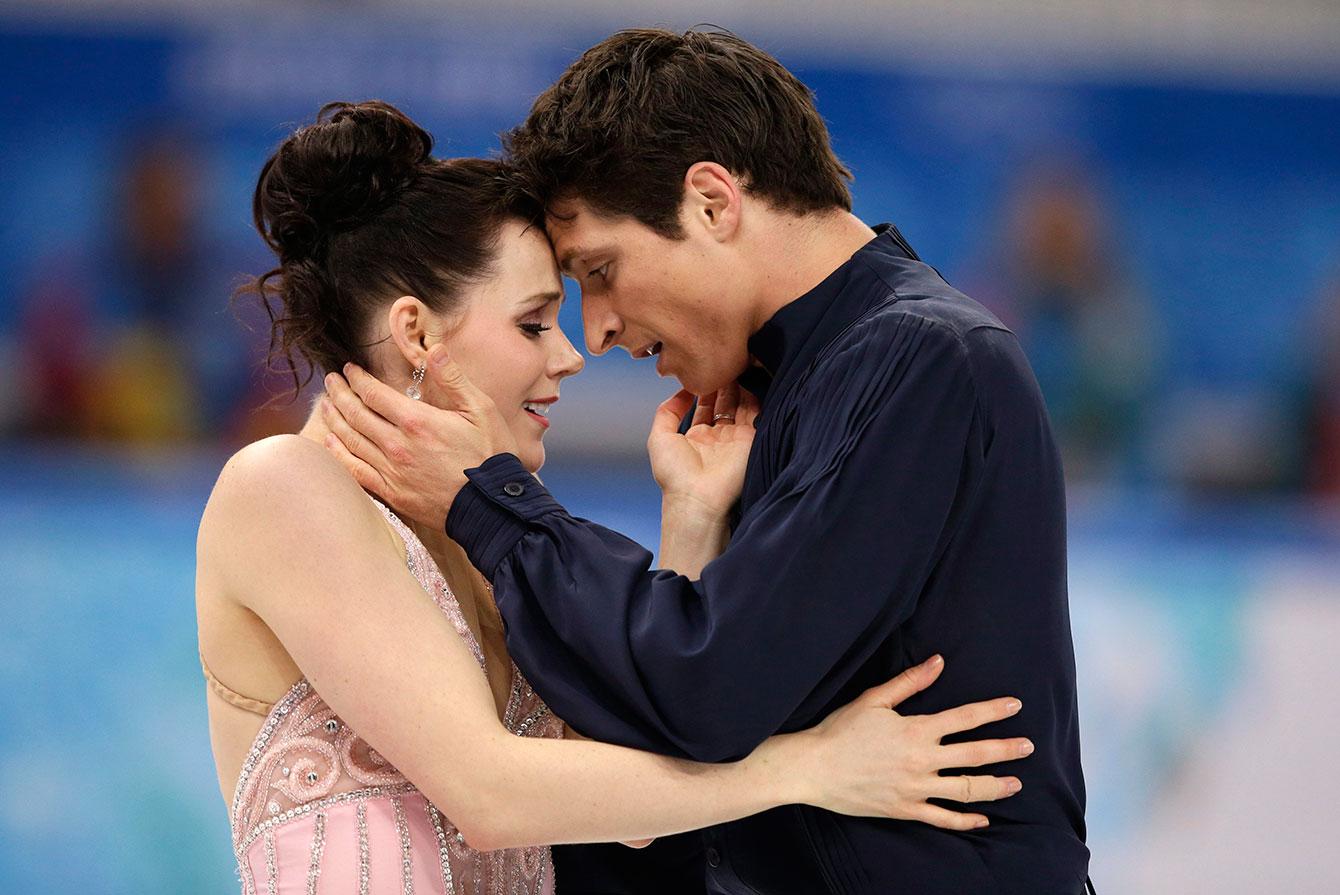 Tessa Virtue and Scott Moir following their silver medal ice dance performance in Sochi.