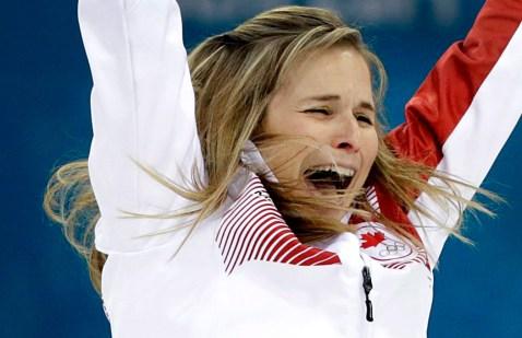 Jennifer Jones reacts to winning gold in Sochi.