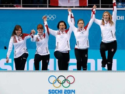 Team Jones at the flower ceremony in Sochi.
