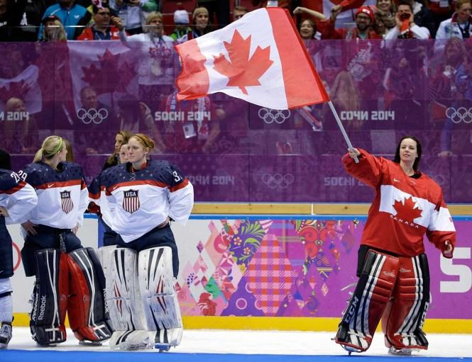 Shannon Szabados celebrates after winning the gold medal.