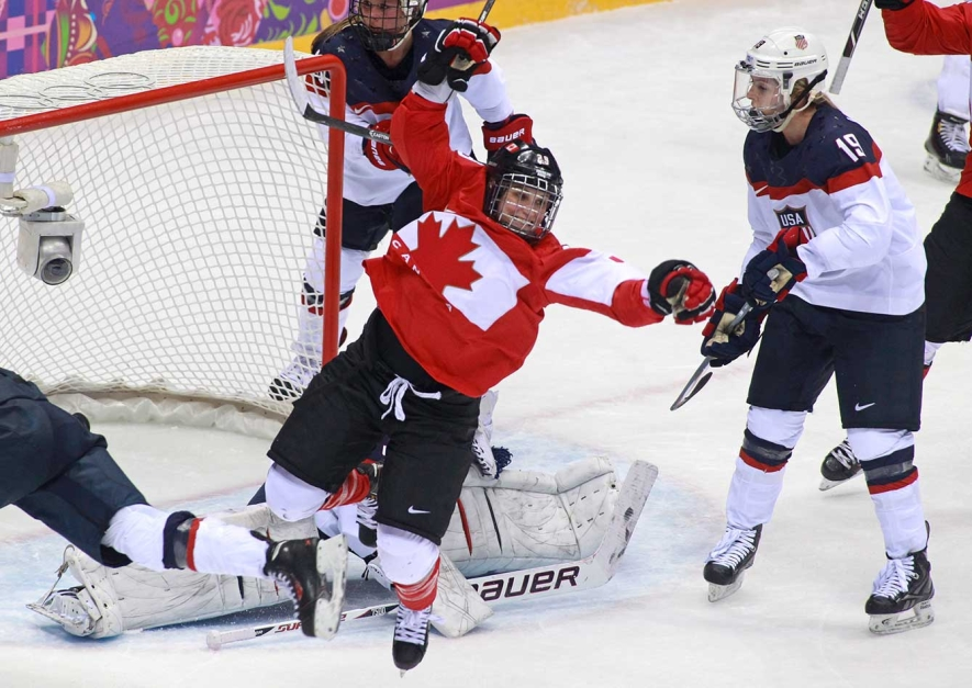 Marie-Philip Poulin after scoring the game-tying goal in the final at Sochi 2014.