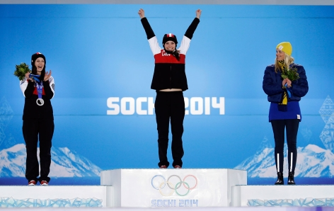 Marielle Thompson at her gold medal victory ceremony in Sochi.