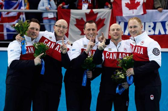 From left to right: Caleb Flaxey, Ryan Harnden, E.J. Harnden, Ryan Fry, and Brad Jacobs.