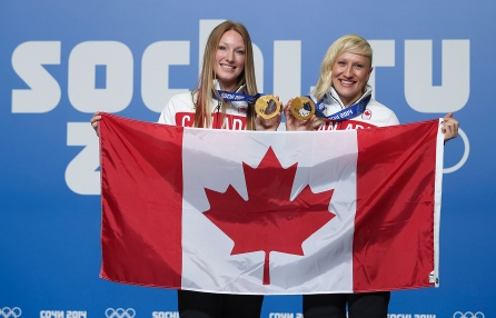 Heather Moyse (L) and Kaillie Humphries (R) were selected as Canada's closing ceremony flag bearers in Sochi.