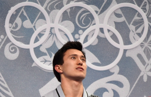 Patrick Chan reacts in the kiss n' cry, in Sochi.