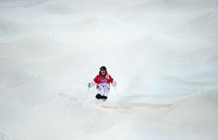 Alex Bilodeau competes in moguls at Sochi 2014.