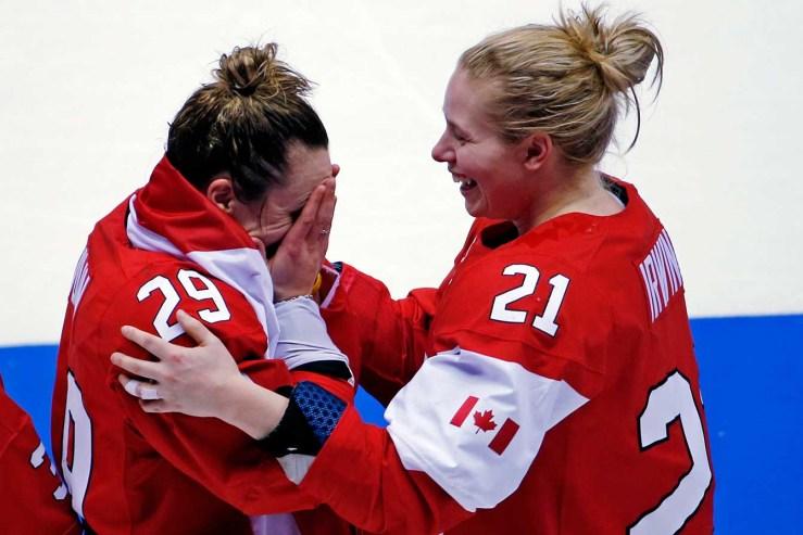 Marie-Philip Poulin (L) Haley Irwin (R) in Sochi.