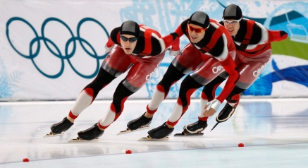 Canadian speedskaters Denny Morrison , left to right, Lucas Makowsky and Mathieu Giroux race to a gold medal finish during the men's team pursuit finals at the Olympic Winter Games in Richmond, B.C., Saturday, Feb. 27, 2010 at the 2010 Vancouver Olympic Winter Games. THE CANADIAN PRESS/Robert Skinner