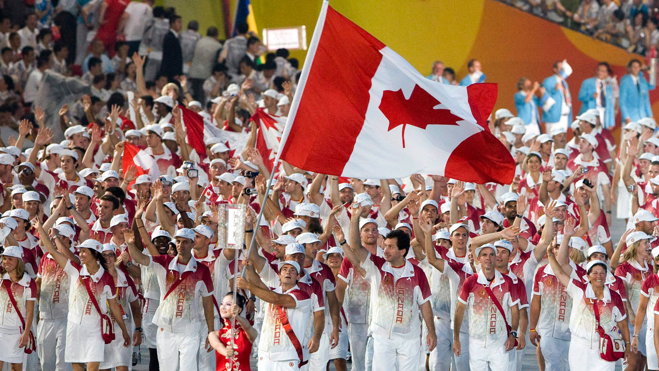 The Canadian team walks during a ceremony at the 2008 Beijing Summer Olympics
