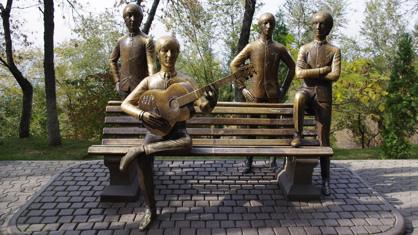 The Beatles Monument in Kok-Tobe park, Almaty, Kazakhstan.