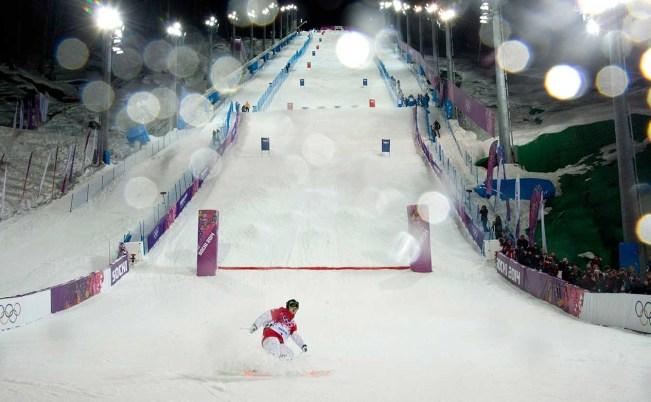 Alex Bilodeau completes a run in Sochi.