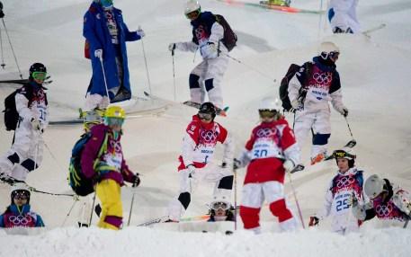 Alex Bilodeau inspects the moguls course in Sochi.