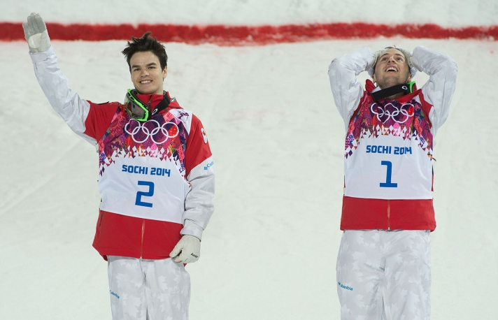Mikaël Kingsbury (L) and Alex Bilodeau (R) immediately after winning the silver and gold medals respectively.
