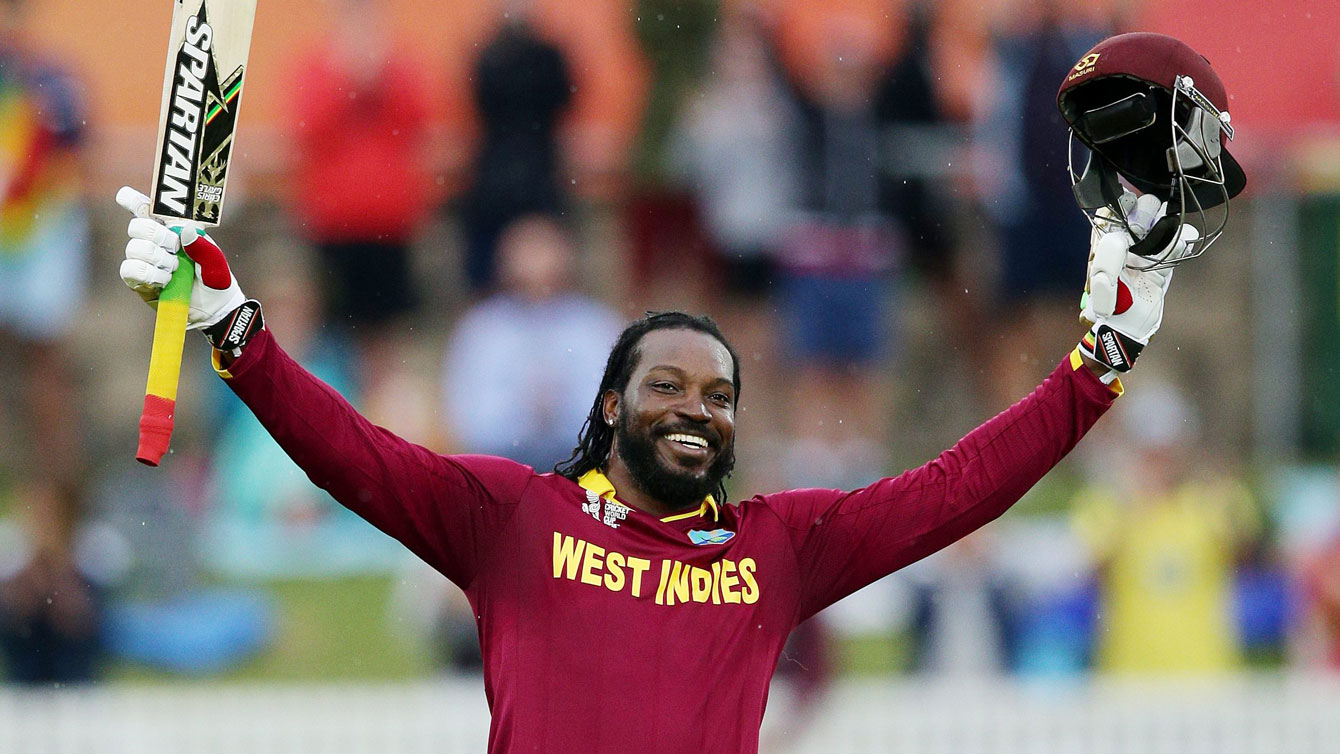 Jamaican Chris Gayle, who internationally represents the collective body West Indies, acknowledges the crowd after becoming the first man to hit for 200 runs at a Cricket World Cup on February 24, 2015.