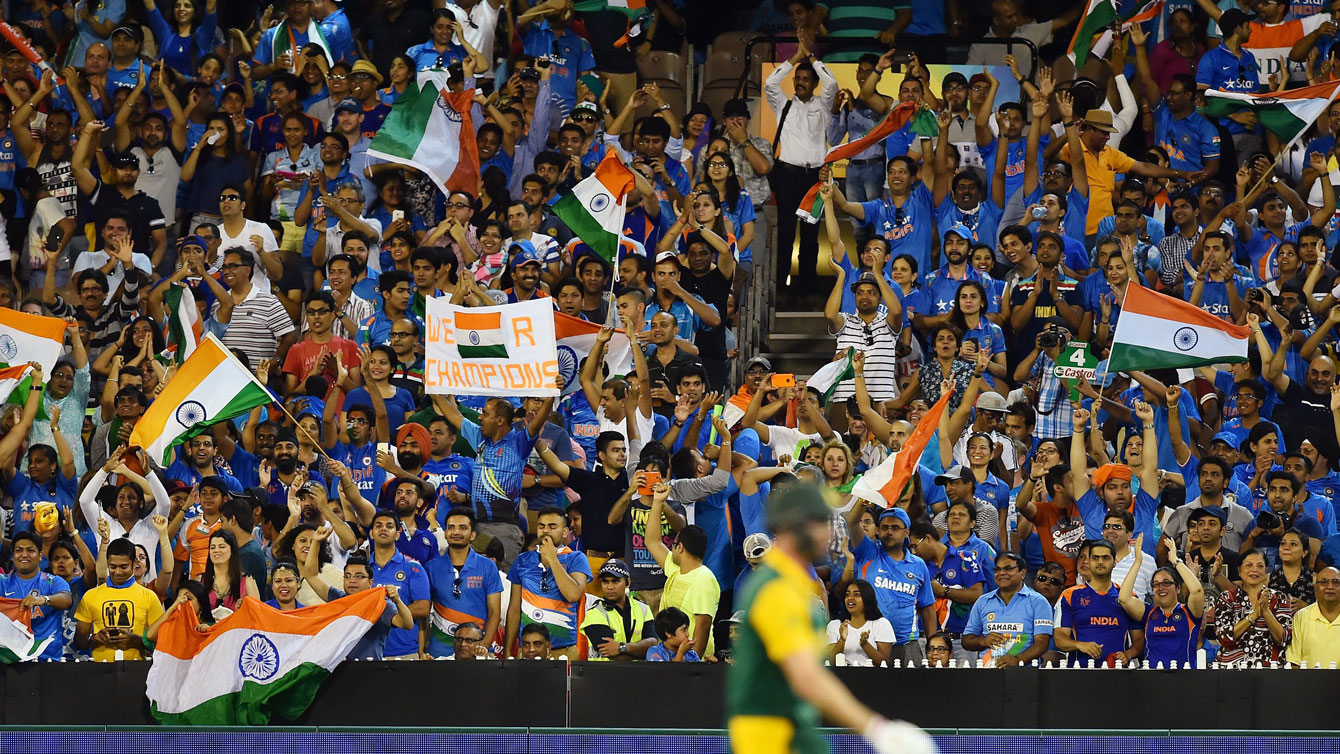 Fans of India, seen here at the 2015 Cricket World Cup in Melbourne, Australia, are a significant revenue driver for the game of cricket.