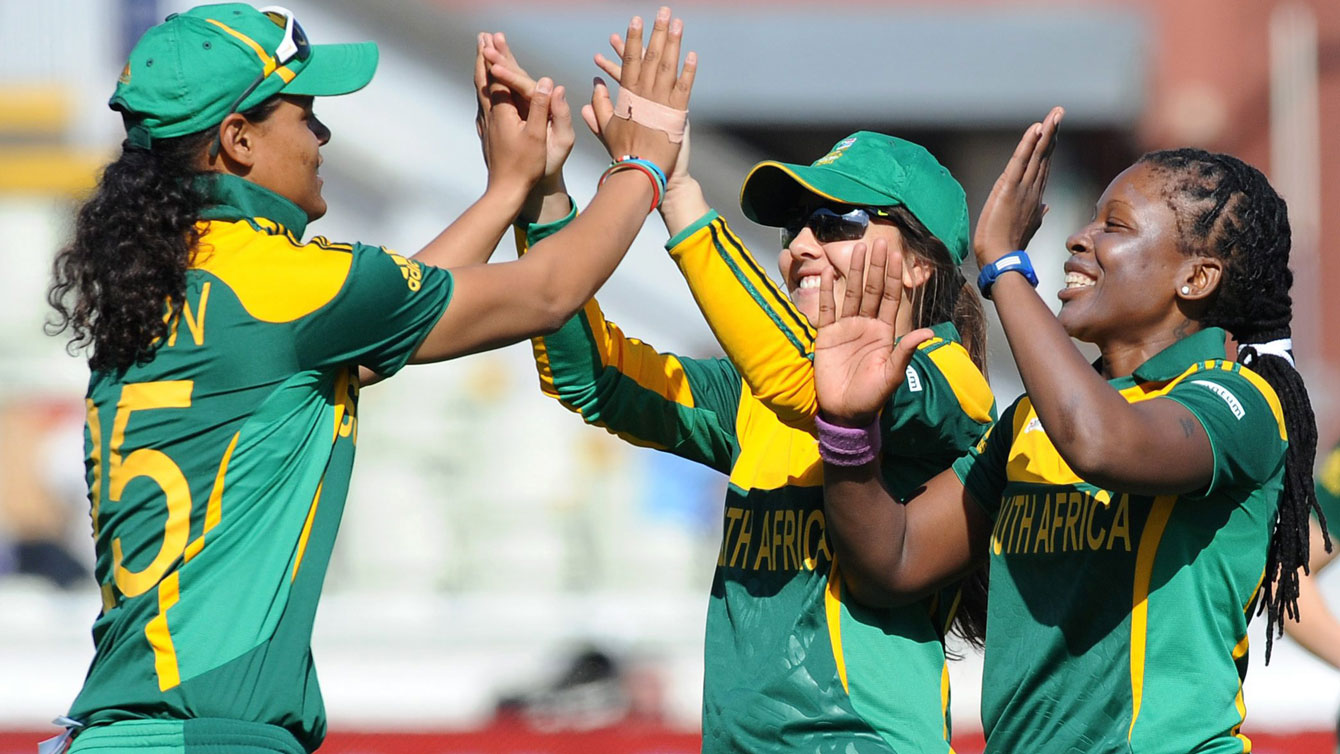 Players on South African women's cricket team celebrate an out against England during T20 play. The 20-overs version of cricket is significantly shorter than traditional cricket. Women's cricket governing bodies are eager to see the sport included in the Olympics.