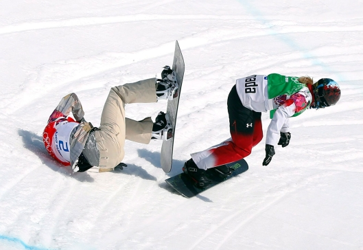 Dominique Maltais during snowboard cross competition in Sochi.