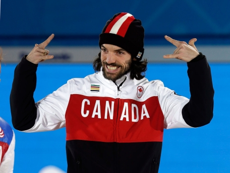 Charles Hamelin during his 1500m victory ceremony.