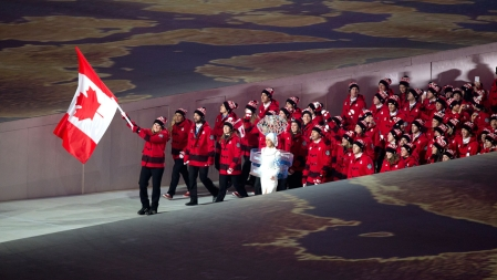 Hayley Wickenheiser led Canada out at Fisht Olympic Stadium during the Parade of Athletes.