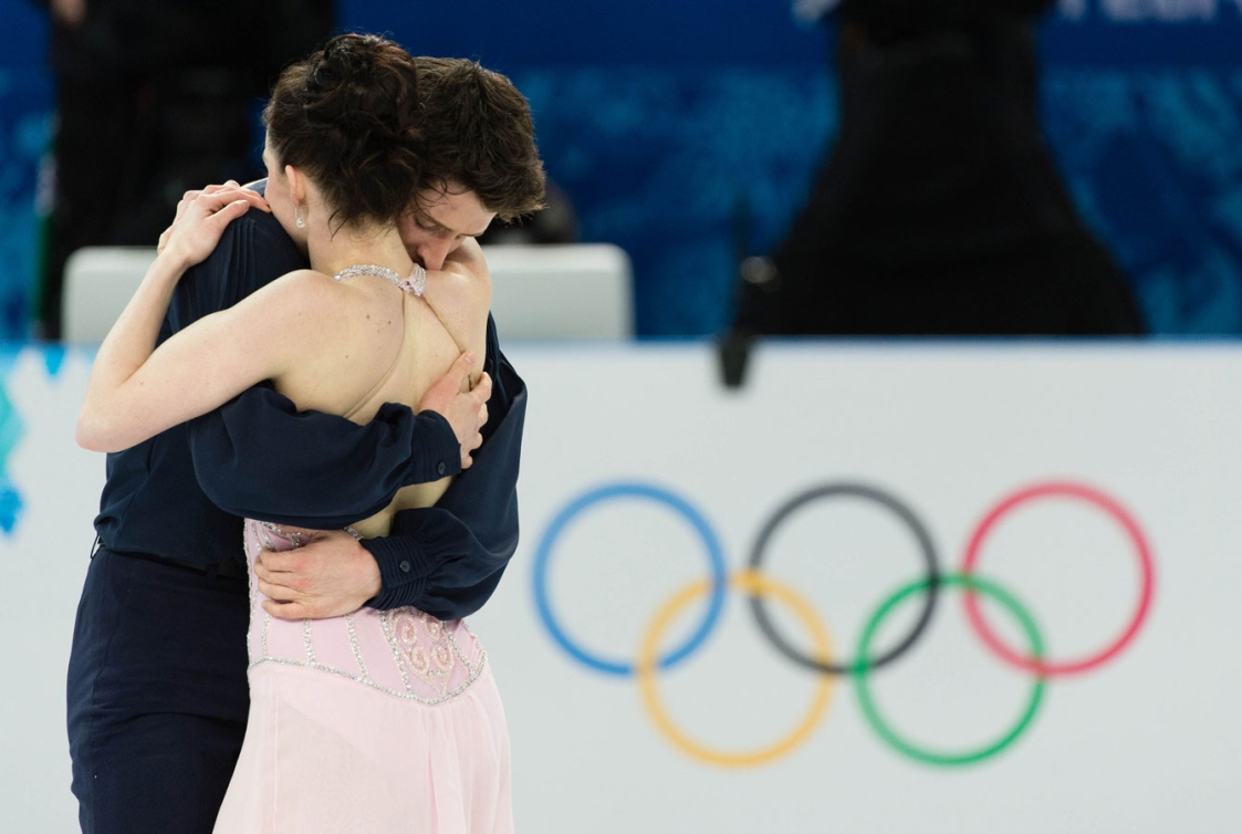 Tessa Virtue and Scott Moir at the conclusion of their Olympic program at Iceberg Skating Palace.