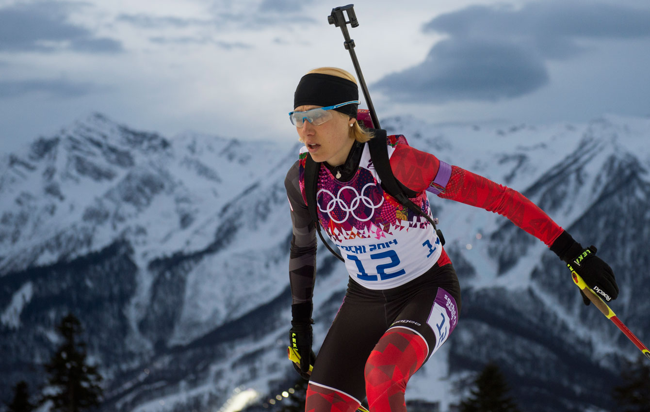 Zina Kocher competes in the biathlon at the Laura Biathlon & Ski Complex.