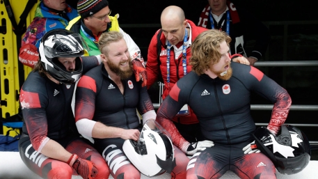 After a frightening crash, Canadian bobsledders take a breather at the Sanki Sliding Centre.