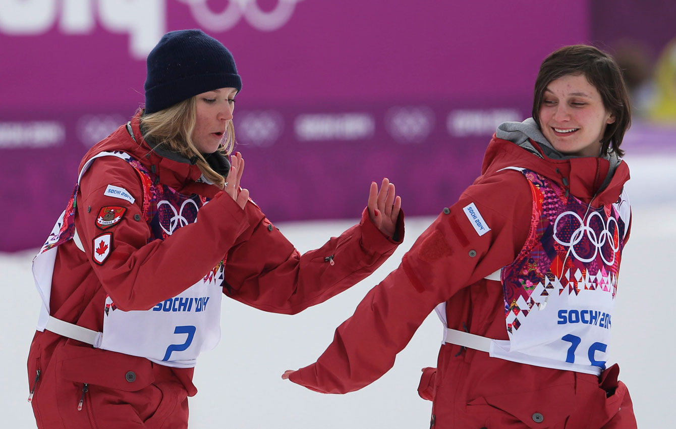 Dara Howell (left) and Kim Lamarre celebrate their podium performance.