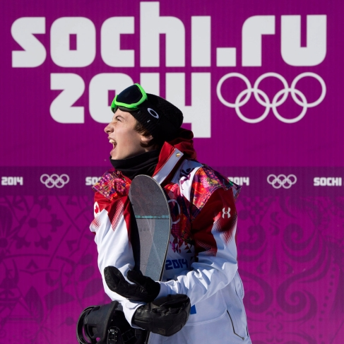Mark McMorris watches anxiously before learning he is Team Canada's first Sochi 2014 medallist.