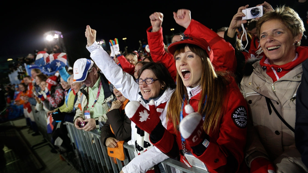 Crowd cheering at ski event in Vancouver 2010